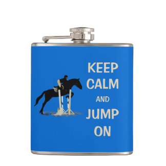 Keep Calm and Jump On Horse Hip Flask