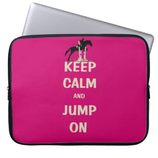 Keep Calm and Jump On Pink Horse Laptop Sleeve