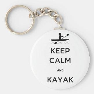 Keep Calm and Kayak Basic Round Button Key Ring