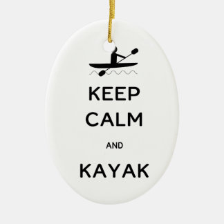 Keep Calm and Kayak Ceramic Oval Decoration