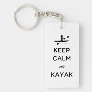 Keep Calm and Kayak Single-Sided Rectangular Acrylic Key Ring