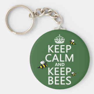 Keep Calm and Keep Bees - all colours Basic Round Button Key Ring