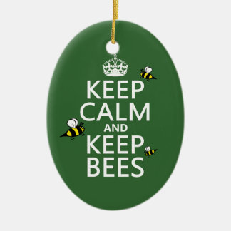 Keep Calm and Keep Bees - all colours Ceramic Oval Decoration