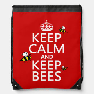 Keep Calm and Keep Bees - all colours Drawstring Bag