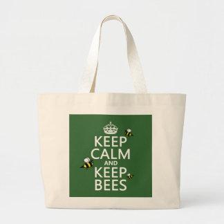 Keep Calm and Keep Bees - all colours Jumbo Tote Bag