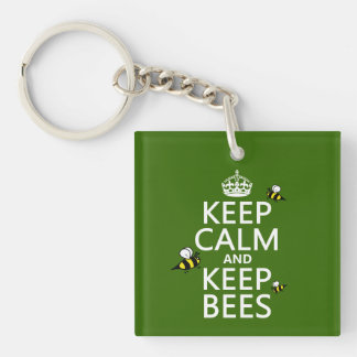Keep Calm and Keep Bees - all colours Key Ring