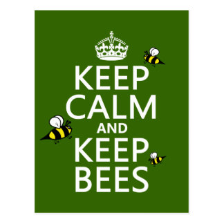 Keep Calm and Keep Bees - all colours Postcard