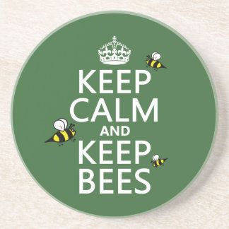 Keep Calm and Keep Bees - all colours Sandstone Coaster