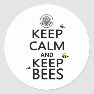 Keep Calm and Keep Bees Round Sticker