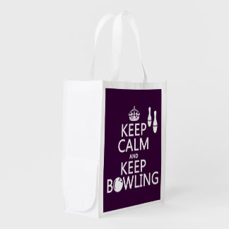 Keep Calm and Keep Bowling - all colours Reusable Grocery Bag
