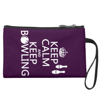 Keep Calm and Keep Bowling - all colours Suede Wristlet
