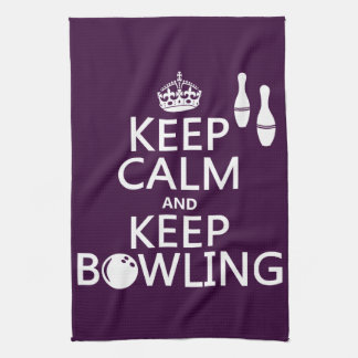Keep Calm and Keep Bowling - all colours Tea Towel