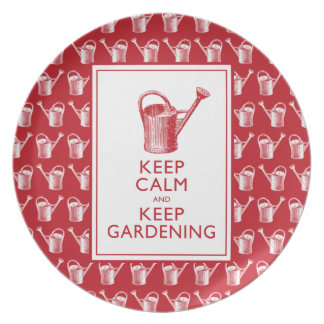 Keep Calm and Keep Gardening Funny Gardener Party Plate