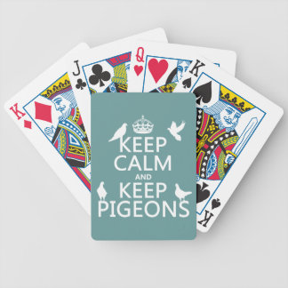 Keep Calm and Keep Pigeons - all colours Bicycle Playing Cards