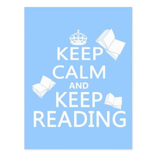 Keep Calm and Keep Reading Post Card