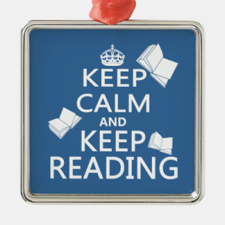 Keep Calm and Keep Reading Silver-Colored Square Decoration