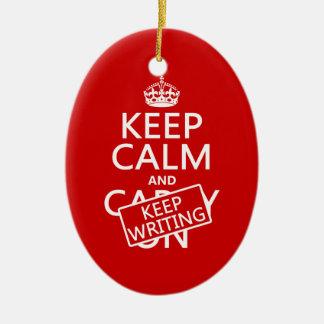 Keep Calm and Keep Writing Ceramic Oval Decoration