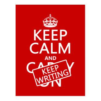 Keep Calm and Keep Writing Postcard