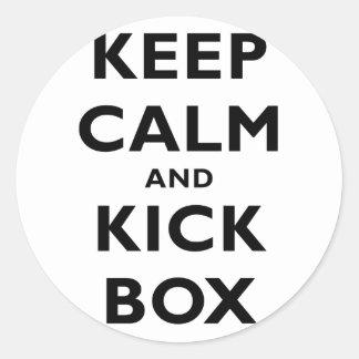 Keep Calm and Kick Box Round Stickers