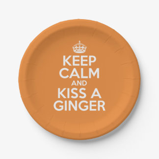 Keep calm and kiss a ginger paper plate