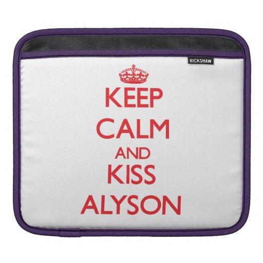 Keep Calm and kiss Alyson iPad Sleeve