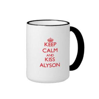Keep Calm and Kiss Alyson Coffee Mugs
