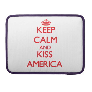 Keep Calm and kiss America MacBook Pro Sleeves