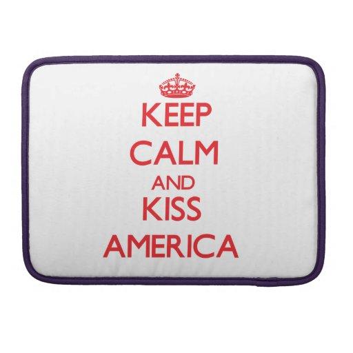 Keep Calm and kiss America MacBook Pro Sleeves