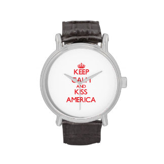 Keep Calm and Kiss America Wrist Watches