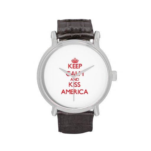 Keep Calm and Kiss America Wrist Watches