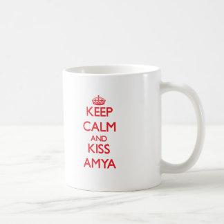 Keep Calm and Kiss Amya Basic White Mug