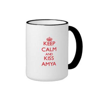 Keep Calm and Kiss Amya Ringer Coffee Mug