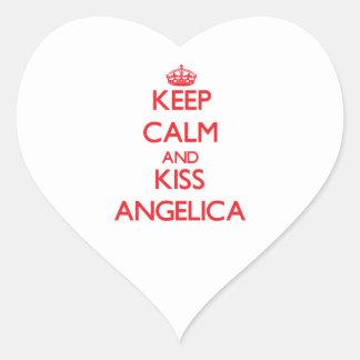 Keep Calm and Kiss Angelica Heart Sticker