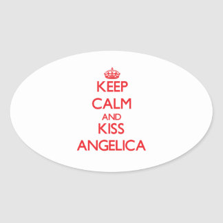 Keep Calm and kiss Angelica Oval Stickers