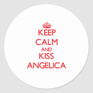 Keep Calm and kiss Angelica Round Sticker