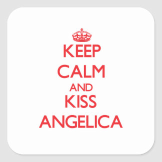 Keep Calm and kiss Angelica Square Stickers