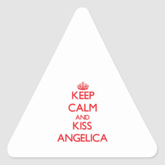 Keep Calm and kiss Angelica Triangle Stickers