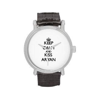 Keep Calm and Kiss Aryan Wristwatches
