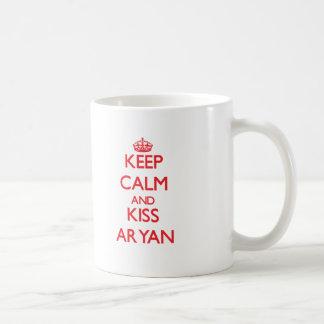 Keep Calm and Kiss Aryan Coffee Mugs