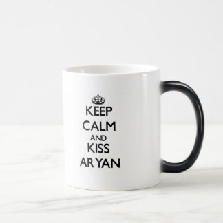 Keep Calm and Kiss Aryan 11 Oz Magic Heat Color-Changing Coffee Mug