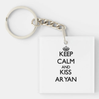 Keep Calm and Kiss Aryan Single-Sided Square Acrylic Key Ring