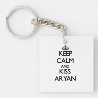 Keep Calm and Kiss Aryan Single-Sided Square Acrylic Key Ring