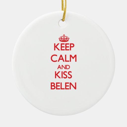 Keep Calm and Kiss Belen Ornaments