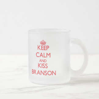 Keep Calm and Kiss Branson 10 Oz Frosted Glass Coffee Mug