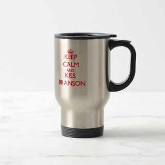 Keep Calm and Kiss Branson 15 Oz Stainless Steel Travel Mug