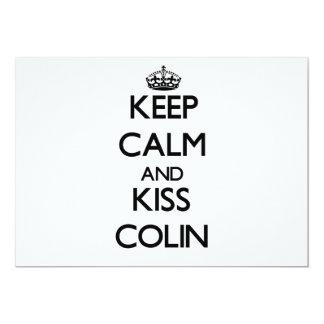 Keep Calm and Kiss Colin 13 Cm X 18 Cm Invitation Card