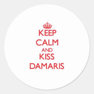 Keep Calm and kiss Damaris Round Sticker
