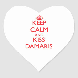 Keep Calm and Kiss Damaris Heart Stickers