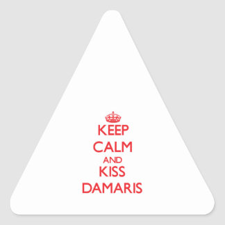 Keep Calm and kiss Damaris Triangle Stickers