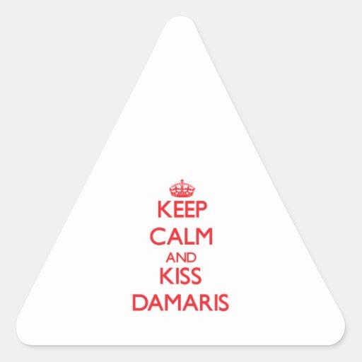 Keep Calm and kiss Damaris Triangle Stickers